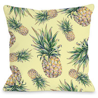 """Summer Pineapple Print"" Outdoor Throw Pillow by OneBellaCasa, 16""x16"""