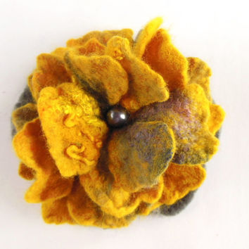 Felted flower brooch hand felted brooch grey, honey, yellow