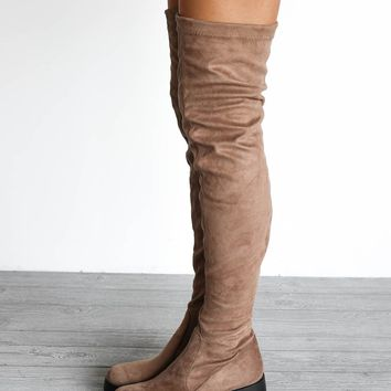 SZ 6 Don't Tell Taupe Chunky Platform Knee High Boots