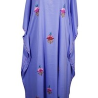 ETHNIC FLORAL EMBROIDERED KIMONO MAXI CAFTAN PURPLE COVER UP EVENING MAXI DRESS