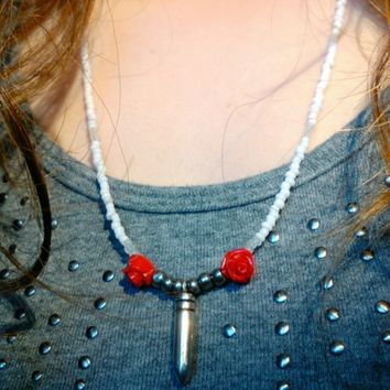 Bullet & Roses Glass Beaded Necklace
