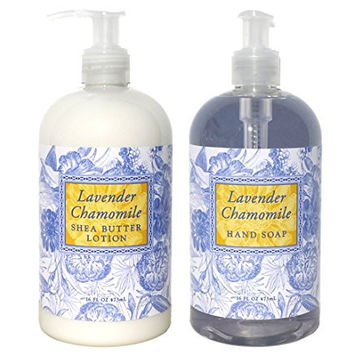 Greenwich Bay Lavender Chamomile Shea Butter Hand & Body Lotion and Lavender Chamomile Shea Butter Hand Soap Duo Set Enriched with Cocoa Butter 16 oz each