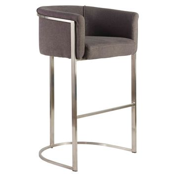 Marrisa-B Bar Stool in Gray Fabric with Brushed Stainless Steel Base