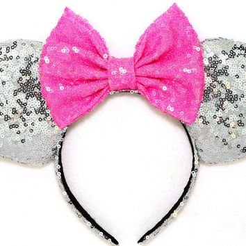 Silver Sequin Ears and Hot Pink Bow