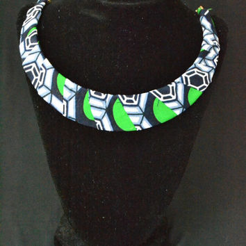 Green and Blue Ankara Necklace