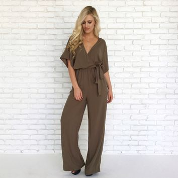 Sweet Caroline Jumpsuit in Olive