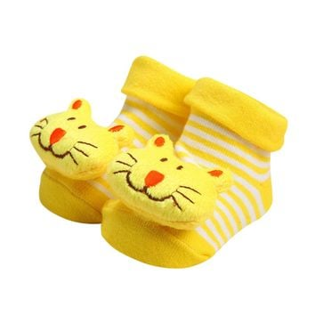 Baby Socks Anti-Slip Cotton Newborn Infant Baby Sock Cartoon Animal Slippers Boots Unisex Boy Girl Socks Rubber Sole