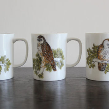 Fitz and Floyd Owl Mugs (Set of 3), owls, ceramic mugs, vintage mugs, set of mugs, bird decor