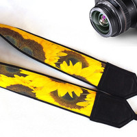 Sunflowers  Camera Strap.  Flowers  Strap. Yellow Camera Strap. Gift For Women.  Accessories