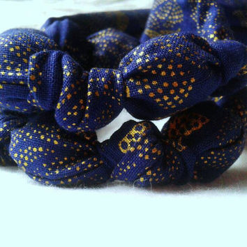 Gold & blue polka dot rose fabric teething necklace,nursing necklace, breastfeeding necklace, stocking stuffer, babywearing gift, wood beads