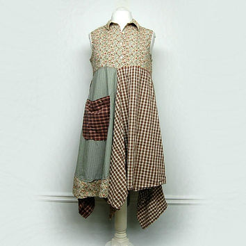 Artsy Clothing, Country Chic Dress, Boho Chic Clothing, Ewa I Walla Style, Patchwork Dress, Sustainable Upcycled Clothing