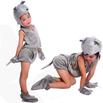 DCCKH6B Free shipping ,halloween party cosplay performance Children grey mouse animal costume clothes pant gloves shoes hat for kid