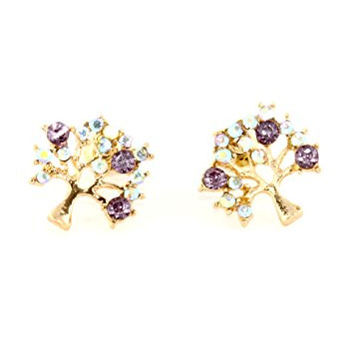 Crystal Tree Stud Earrings Gold Tone Aurora Borealis Arbor Posts EH46 Fashion Jewelry