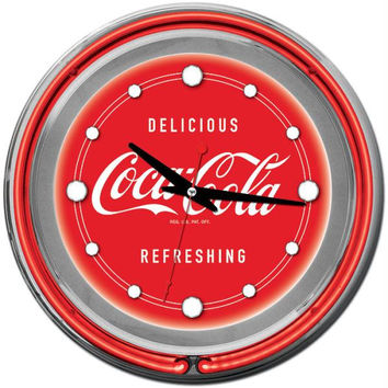 Coca Cola Neon Clock - Delicious Refreshing - Two Neon Rings
