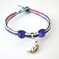 Moon and Stars Beaded Hemp Bracelet Purple Blue Women's Hippie Hemp Jewelry