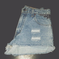 High Waisted Levi's Studded Denim Shorts WAIST SIZE 28""