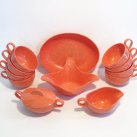 Vintage Melmac Set of Coral Speckled Dishes by ModernFiction