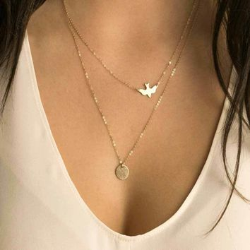 handmade jewelry summer simple wild lady double peace pigeons gold necklace small Swallow Necklace