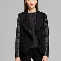 Vince Jacket - Leather Sleeve Asymmetric