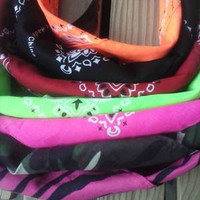Neon Red Black Zebra or Camo Bandana with or without Velcro Closure
