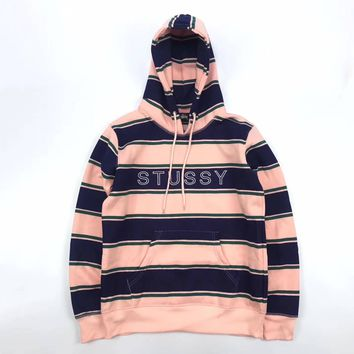 Stussy Woman Men Fashion Stripe Hoodie Top Sweater Pullover