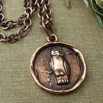 Owl Pendant Necklace, Rustic Copper Charm, Bird Lover Jewelry, Woodland, Nature, Organic, Earthy, Trendy Jewelry, Casual, Gift Idea