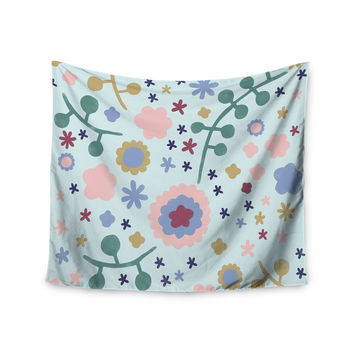 """Alik Arzoumanian """"Morning Flowers"""" Pink Blue Wall Tapestry"""