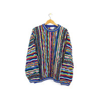 vintage rainbow coogi style sweater - 80s / 90s - norm thompson - mercerized cotton - medium - large