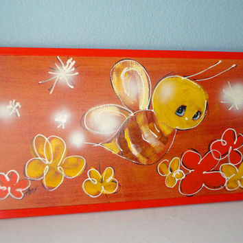 Sweet Bee Original Vintage Painting