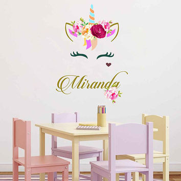 Unicorn wall decal Custom Name Vinyl Wall Decal Large Wall Decal Smiling Unicorn Decal Happy unicorn decal Unicorn lashes cik2274