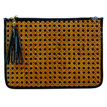 Toss Caning Tassel Clutch - Black w/ Natural Caning