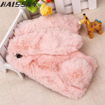 Lovely Rabbit Hair Fur Case For iPhone 4 4S 5 5S SE 6 6S Plus Luxury Warm Doll Plush Phone Cover For iPhone 7 8 Plus Women Girl