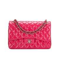 Chanel Fuchsia Pink Quilted Patent Jumbo Classic Double Flap Bag