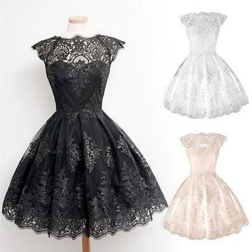 Retro Gothic Girl Waisted Lace Party Dress Cocktail Lolita Princess Bubble Skirt [9305695687]
