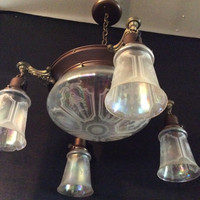 Antique Victorian Chandelier 4 Opalescent Acid Etched Shades With Lge Center Shade 1900 - 1910