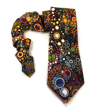 Effervescent Tie, Colorful tie, Black tie, abstract tie, consentric tie, colorful circles, maroon brown orange aqua navy white olive yellow