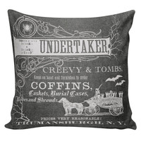 Halloween Decor Cushion Pillow Funeral Home Undertaker Ad Chalkboard Cotton and Burlap HA-72 RavenQuoth All Hallow's Eve Home Decor
