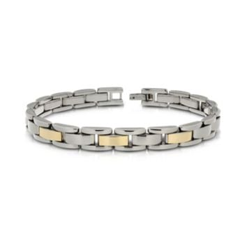 Zoppini Designer Men's Bracelets Zo-Chain Stainless Steel and 18K Gold Link Bracelet