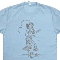 Hula Girl T Shirt Hula Girl Shirt Tiki Bar T Shirt Tiki Graphic Tee