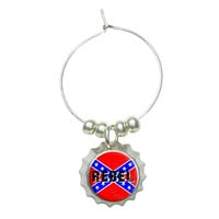 REBEL - Confederate Southern Flag Distressed Wine Glass Bottlecap Charm