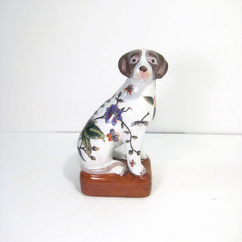 Asian Dog Figurine Floral and Leaf Decorated Chinese Glazed Pottery