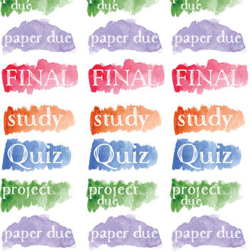 School Stickers, Test Stickers, Homework Stickers, Study Stickers, Watercolor Stickers, Student Stickers, College Stickers, Planner (#0172)
