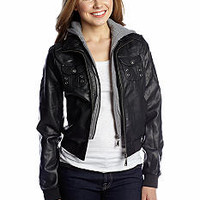 YMI Hooded Faux Leather Bomber Jacket