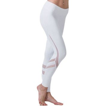 Mesh Yoga Pants Women White Legins Sport Fitness Gym Clothes Elastic Athletic Leggings Quick Dry Running Tights Women Trousers