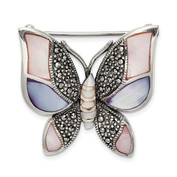 Sterling Silver Marcasite Mother Of Pearl Butterfly Brooch Pin