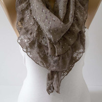 Mocha Mink Romantic Floral Triangle Lace Shawl Scarf - Triangle Scarf - Lace Scarf - Cotton Scarf Summer Scarf Fashion Women Accessories
