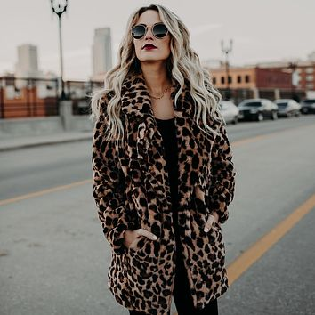 Elegant Leopard Faux Fur rabbit fur coat Women Autumn Plus Cashmere Warm Coat Female Winter Cardigan Outwear Fake Fur Jacket