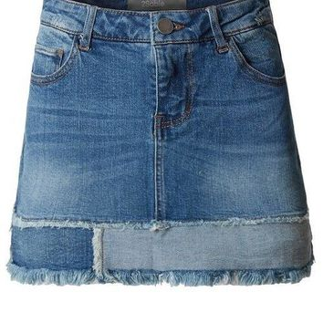 2Sable Vintage Frayed A-Line Mini Denim Skirt