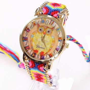 Watch Women Owl wristwatch psychedelic Lace Chain Braid Reloj Girl Vintage Fabric