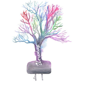 Watercolor Tree, Unplug, Unplugged, Watercolor Unplugged, Nature Painting, Tree Painting, Colorful Tree, 8x10, print, Home Decor, Wall Art